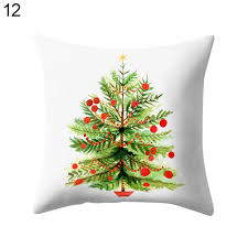 christmas penguin pillow case square sofa waist cushion cover home
