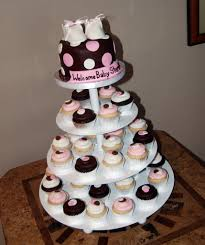 pink and brown polka dot baby shower cupcake tower with ba u2026 flickr