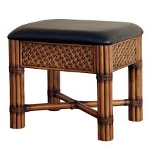 Bathroom Vanity Bench Square Rustic Brown Rattan Bathroom Vanity Stool With Black