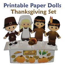thanksgiving printable paper doll set pdf clip