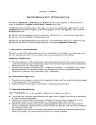 Food Runner Job Description For Resume by Sample Memorandum Of Understanding Free Download
