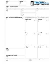 creative curriculum blank lesson plan template art music preschool