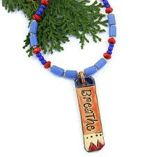 beads necklace handmade images Breathe yoga necklace blue red beads handmade pendant jewelry jpg