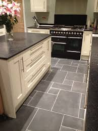 grey kitchen cupboards with black worktop floors of
