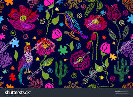 Beautiful Purple Motifs Floral Embroidery Seamless Vector Pattern Birds Stock Vector