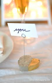 place cards diy diy cement heart place card and photo holders life is a party