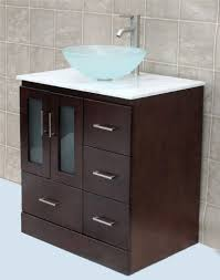 Solid Wood  Bathroom Vanity Cabinet Glass Vessel Sink Faucet MO - Bathroom vanity cabinet for vessel sink