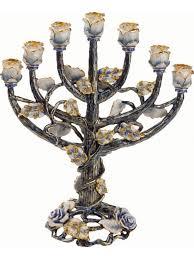 24k gold plated 7 branch tree of menorah blue