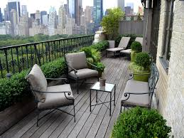 beautiful balcony garden planted in the pots and containers