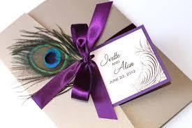peacock ribbon wedding invitation ideas lovely purple peacock wedding