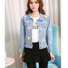 cute jacket pattern new 2016 cute denim jackets ladies pattern print jacket long sleeve