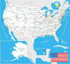 united states map with labels of states and capitals united states map flag navigation labels roads illustration vector