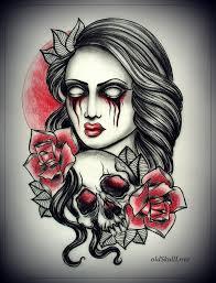 with skull tattoo design by oldskulllovebymw on deviantart