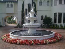 awesome round concrete pool fountains that has white color can add