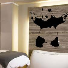 banksy panda graffiti guns at dawn large wall art vinyl
