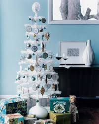 White Christmas Tree Decorated White Christmas Tree With Blue And Silver Decorations