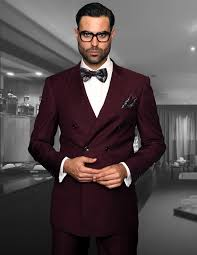 tzd 100 burgundy classic breasted solid color mens suit