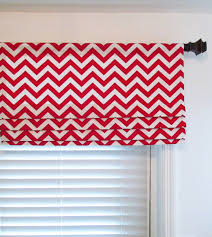 Curtain Rod Roman Shades - faux roman shade in red white zig zag print also available in