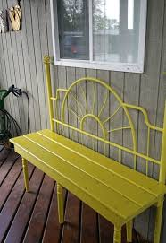 Bench From Headboard Up Cycle Yellow Bench Made From A Headboard Hometalk