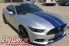 Yellow Mustang With Black Stripes 2015 17 Mustang Wide Dual Full Length Stripes From Big Worm Graphix