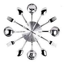 couvert de cuisine horloge en couverts inox gris horloges murales la foir fouille