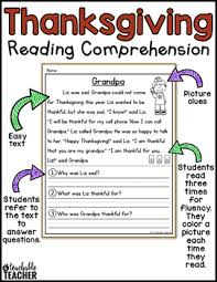 thanksgiving reading comprehension by a teachable tpt