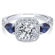 sapphire halo engagement rings 14k white gold and sapphire 3 stones halo 14k white gold