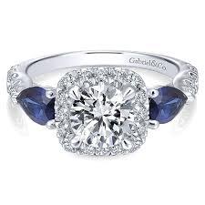 diamond rings sapphire images 14k white gold diamond and sapphire 3 stones halo 14k white gold jpg
