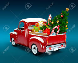 christmas background pickup with christmas tree and gifts merry