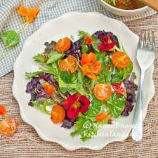 Salad With Edible Flowers - too pretty to eat almost nasturtium salad with nasturtium