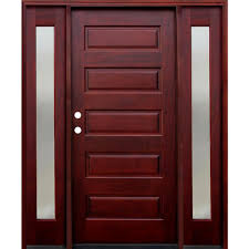pacific entries 70 in x 80 in 5 panel stained mahogany wood 5 panel stained mahogany wood prehung front door