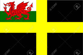 Black Red And Yellow Flag The Flag Of Saint David A Black Background With A Yellow Cross