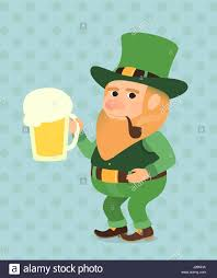 cartoon beer pint st patrick day vector illustration elf troll gnome goblin gremlin
