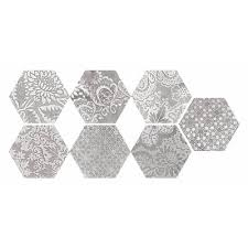 faber moroccan 10 in x 12 in decorative silver hexagon porcelain