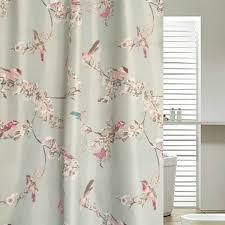chic blue floral bird luxury shower curtains