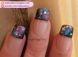 make nail art galaxy french manicure nail art design tutorial