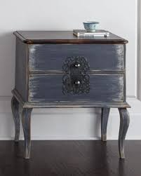 hand painted distressed blue nightstand
