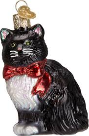 old world christmas tuxedo cat glass tree ornament 3 5 inch