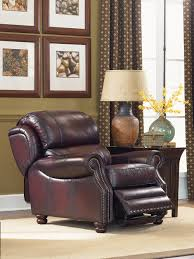 jamison high leg recliner w brass nail head trim