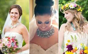 statement necklace wedding images 6 brides who wore statement necklaces steal their style