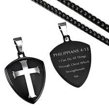 philippians 4 13 cross shield necklace christian bible verse