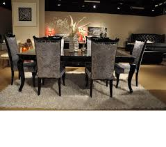 Black Lacquer Dining Room Table Dreamfurniture Com Skyline Modern Black Crocodile Lacquer