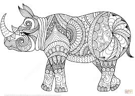 zentangle rhino coloring page with coloring page theotix me