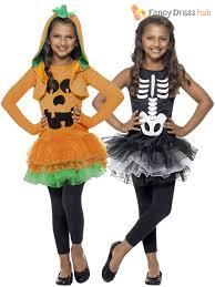 girls pumpkin halloween costume age 4 10 girls skeleton pumpkin tutu halloween fancy dress costume