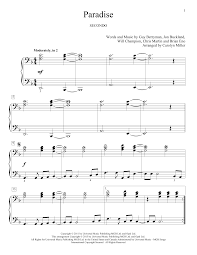 paradise sheet by coldplay piano duet 162360