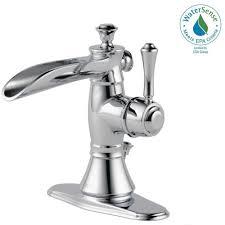 open spout bathroom faucet delta cassidy single hole single handle open channel spout