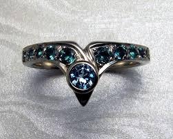 Superhero Wedding Rings by Custom Made Fitted Engagement Ring Set Blue Topaz 14k White Gold
