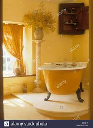 claw foot bath on raised floor in yellow bathroom with antique