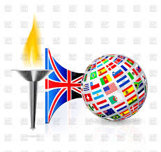 English Flag Torch With Flame English Flag And Globe Royalty Free Vector Clip