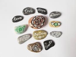 set of 12 hand painted stones mandala stone art inspirational